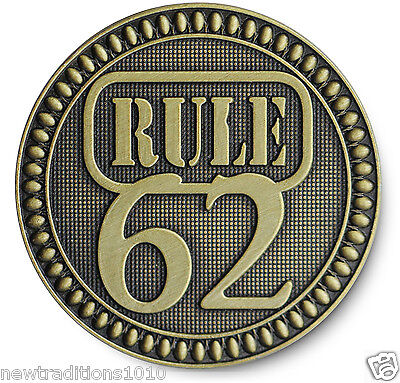 """Antiqued Bronze '""""RULE 62"""" AA/NA/12 Step Recovery Program Coin /Token/Chip for sale  Shipping to Canada"""
