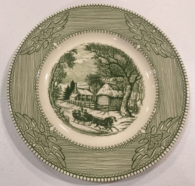 """Currier & Ives Mount Clemens China Green Dinner Plate 10"""""""