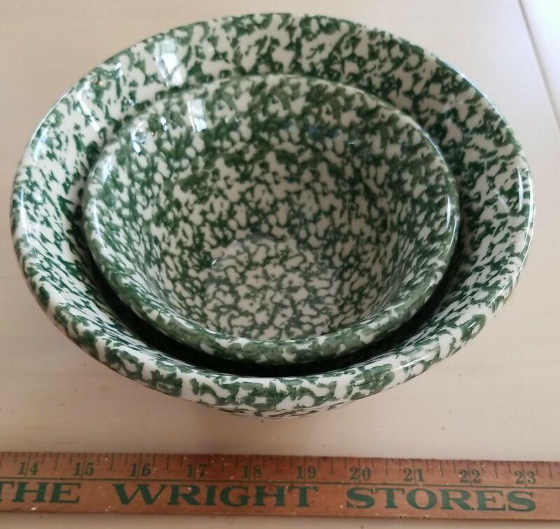 "2 Gerald E. Henn Green Spongeware Mixing Bowls 8"" & 6"" Roseville OH EUC"