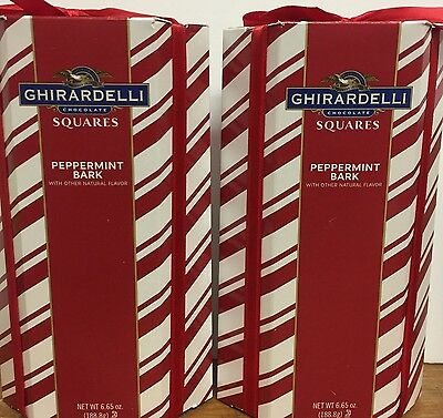 Valentines Day Ghirardelli Chocolate Peppermint Bark Squares Joy Gift Box X 2