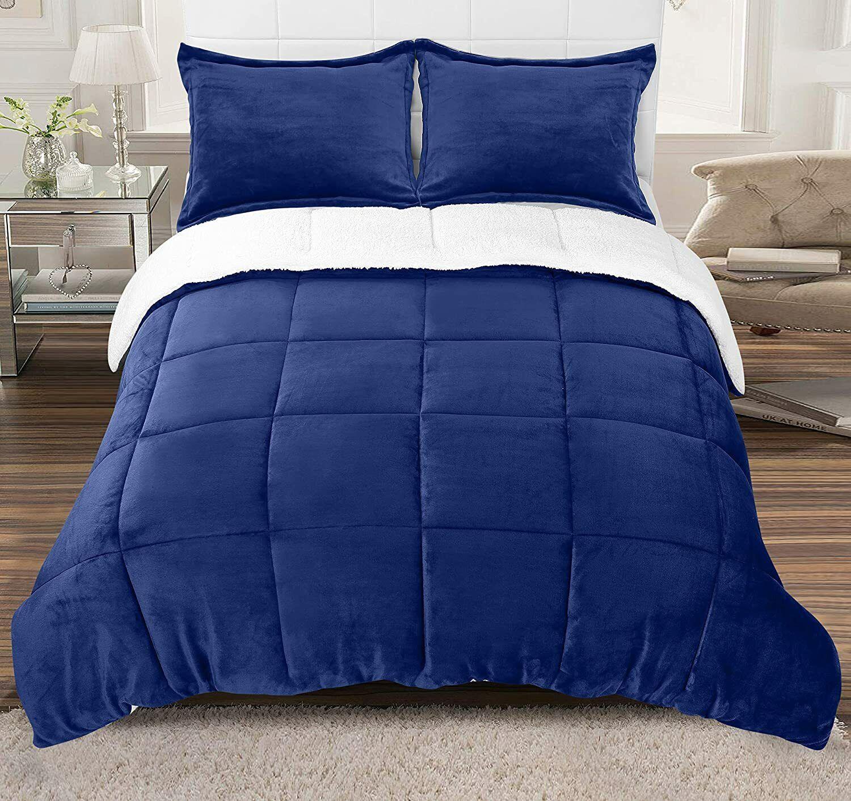 All Season Reversible Fleece Sherpa Comforter Set Utopia Bedding 3