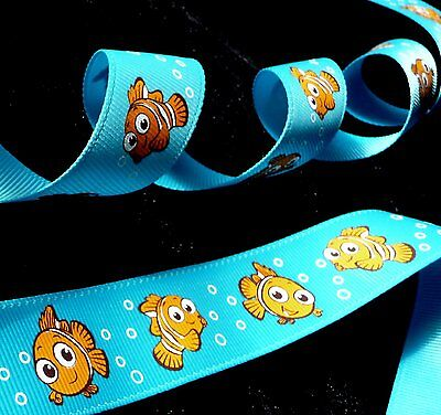 1 inch NEMO clown fish in Finding Nemo Dory ocean theme Disney grosgrain RIBBON - Finding Nemo Theme