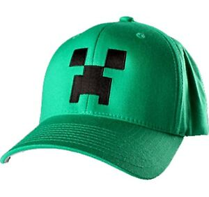 Minecraft Creeper Green & Black Fitted Cap Hat Mojang