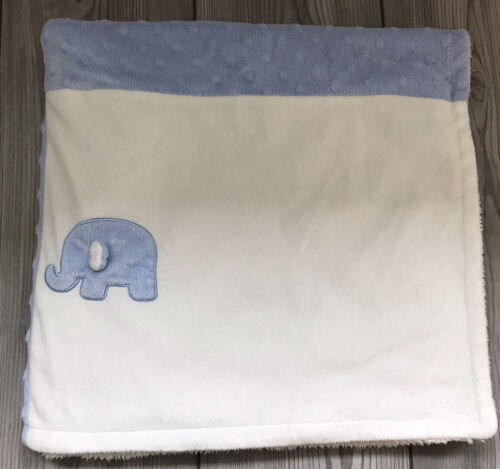 HTF KYLE DEENA LOVEY SOFT BABY BLANKET 30x30 Blue Minky Dots Elephant Cream - $41.99