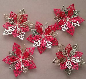 5 Flower Poinsettia Card Toppers Snowflake Christmas Embellishment Red Gold