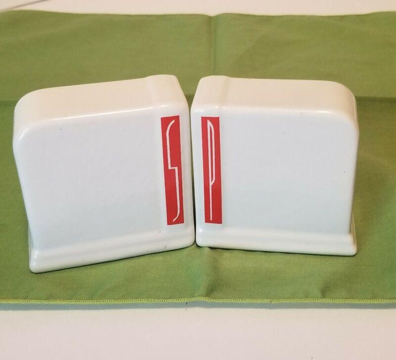 Vintage Art Deco Salt & Pepper Shakers Ironstone White & Red Retro Kitchen