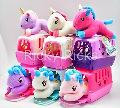 1 Small Pet Shop Toy Unicorn + Carrying Case Kids Cute Doll Stuffed Animal - Child Plush