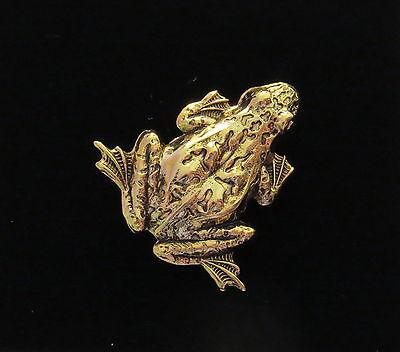 Frog Pin Brooch 24 Karat Gold Plate Toad Bullfrog Polliwog Croaker Amphibian