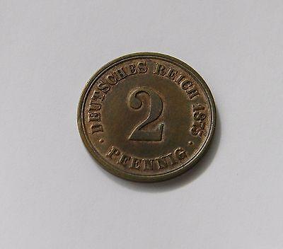 KAISERREICH: 2 Pfennig 1875 A, J. 2, prägefrisch/unc. !!! TOLLER PRÄGEGLANZ !!!