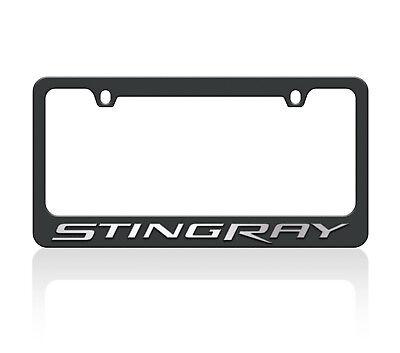 New 2014 Black Carbon Steel C7 Corvette Stingray Mirror Word License Plate Frame