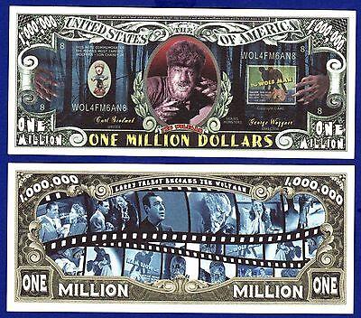 2--Wolfman Dollar Bills -Novelty HORROR Halloween Collectible- FAKE- MONEY- Z](Fake Halloween Money)