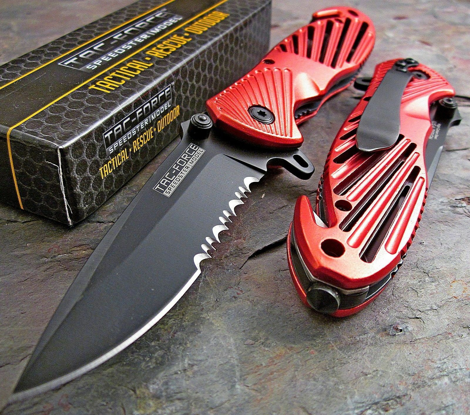 TAC FORCE Assisted Open Speedster RED High Carbon Rescue Glass Breaker Knife 8""