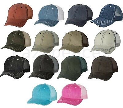 Mega Mens Low Profile Cotton Hat Mesh Ball Cap Herringbone Unstructured Trucker
