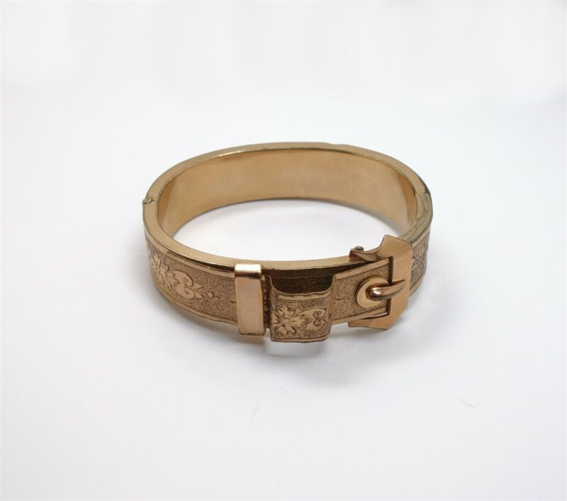 Antique 19C Victorian Gold GF Ornate Engraved Flower Motif Hinge Buckle Bracelet