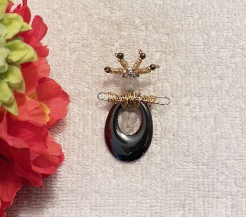 CLASSIC PIN BROOCH WITCH DOCTOR WOMAN WILD HAIR CLEAR COSTUME STONES WIRE CH1
