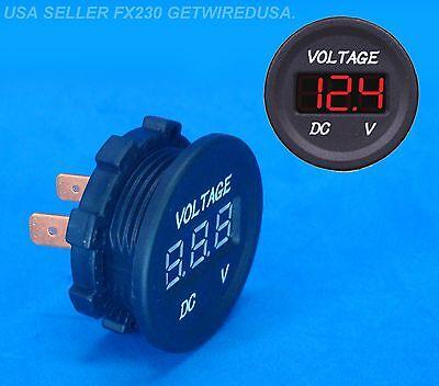 12-volt Car Boat Red Dc Digital Display Panel Voltmeter Waterproof Gauge Meter