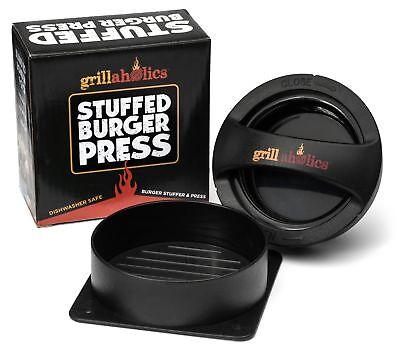 Grillaholics Stuffed Burger Press - Non Stick Hamburger Patty Maker for Burgers.