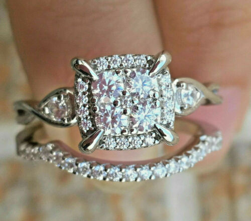 2.56ct Round Pressure Set Diamond Engagement Ring Wedding Band 14k White Gold
