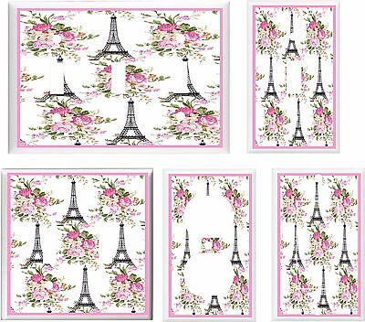 EIFFEL TOWER PARIS PINK FLORAL K1 LIGHT SWITCH COVER PLATE  U PICK PLATE (Pink Eiffel Tower)