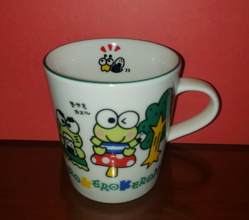 Vintage 1993 Sanrio Kerokerokeroppi Keroppi Porcelain Coffee Mug Tea Cup-EUC!
