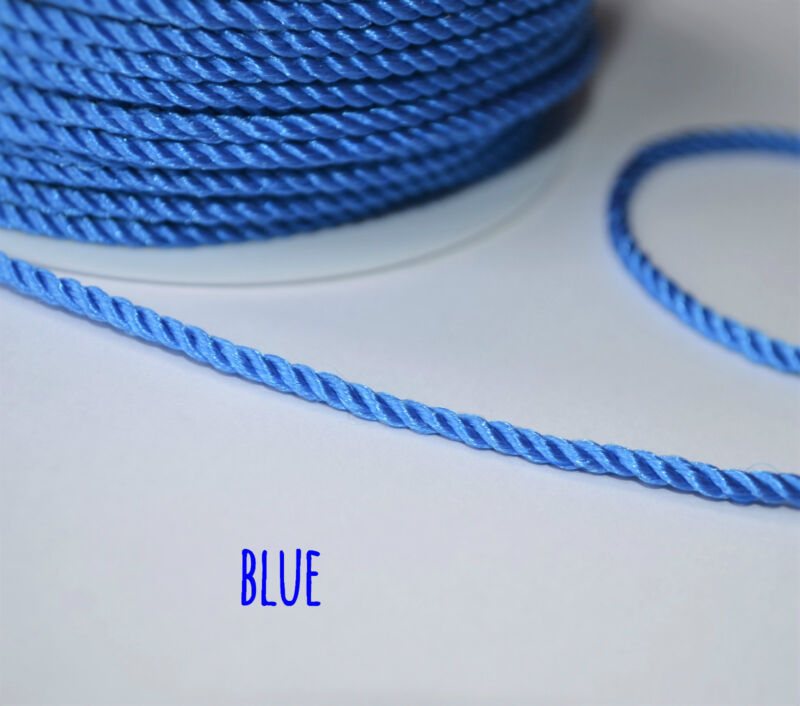 250m 2.2 mm twisted cord rope braid string craft jewellery soutache pipping 5m