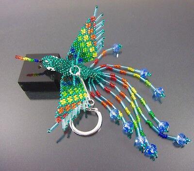 Huichol Beaded Bird Keychain New Handmade Mexican Folk Art Keyring Hummingbird