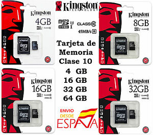 Tarjeta-MicroSD-Kingston-4-8-16-32-64GB-Clase-10-Memoria-Micro-SD-Original