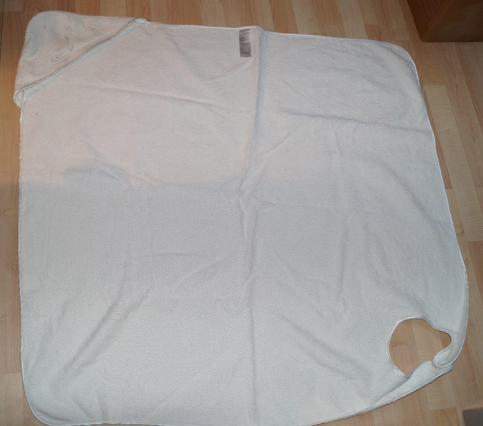 Kapuzenhandtuch Baby Bade Handtuch weiß groß 104x98cm 100% BW von Clevamama