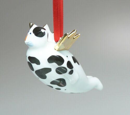 "Villeroy & Boch Porcelain Flying Angel Winged Cat Ornament Black White Gold 4.5"""