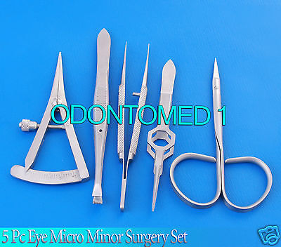 5 Pc Eye Micro Minor Surgery Veterinary Ophthalmic Instrument Set Kit