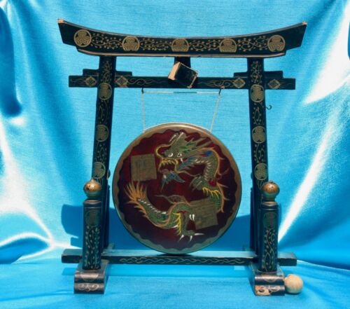 Antique Chinese Table Gong on Laquered Base W. Hand Painted Dragon on Brass Gong