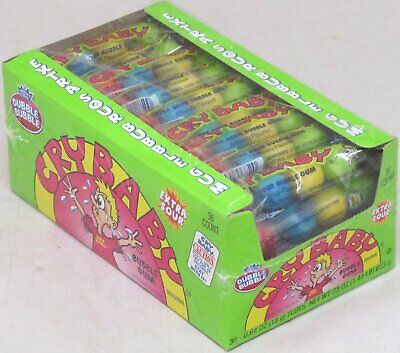 Cry Baby Bubble Gum Box of 36 Tubes Extra Sour Cry Babies Bulk 1.44 -