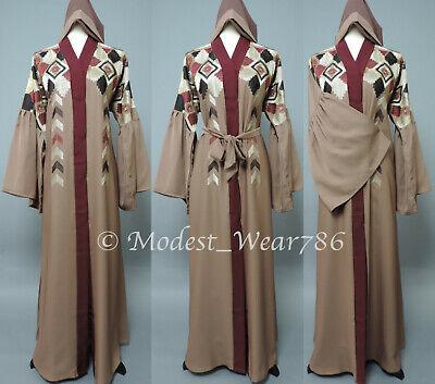 Dubai Open Abaya Kaftan Kimono Cardigan Muslim Women Maxi Dress Rose Taupe