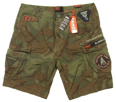 Superdry Men's Forest Camo Green Patched Core Lite Parachute Cargo Shorts
