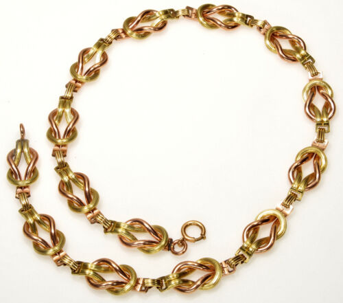 ANTIQUE VICTORIAN YELLOW & ROSE GF LOVE KNOT TEXTURED LINK NECKLACE