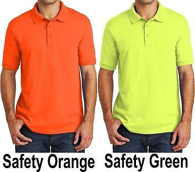 Big Mens Polo Shirt Cotton/Poly Moisture Wicking Golf SAFETY GREEN ORANGE New