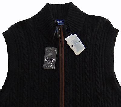Men's CREMIEUX Black Cable Knit Zip Sweater Vest WOOL CASHMERE XXL 2XL NWT NEW Cashmere Cable Vest Sweater