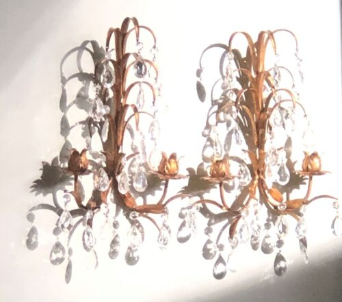 PAIR OF HOLLYWOOD REGENCY MCM ITALIAN TOLE GILDED SCONCES