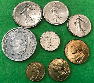 France Coins Lot of 8 World Coin Set of Pre-Euro French Coins Francs SHIPS FREE