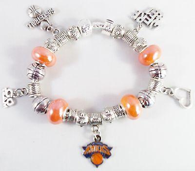 - GLASS BEADS Official NBA NEW YORK KNICKS Basketball Charm Silver Euro Bracelet