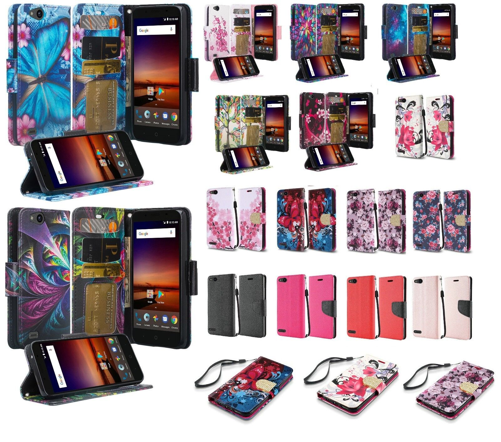 ZTE Avid 4 Wallet Credit Card ID Kick Stand Flip Cell Phone