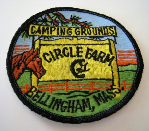 """CIRCLE FARM CAMPING GROUNDS BELLINGHAM MA SEW-ON PATCH 3¼"""" ROUND HORSE PINE SIGN"""