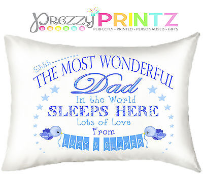 PERSONALISED DAD PILLOWCASE FATHERS DAY CHRISTMAS BIRTHDAY GIFT BEST UNIQE BLUE