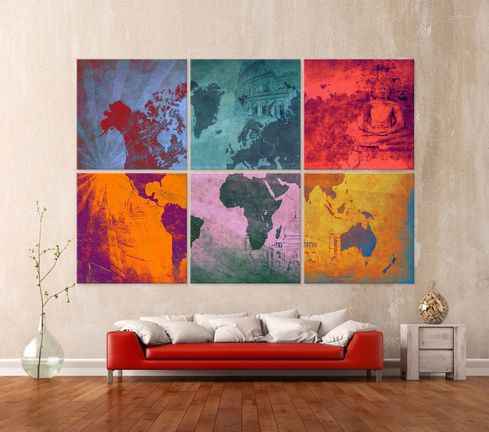 die weltkarte pop art leinwand bilder modern kunstdruck bild wandbild worldmap eur 289 00. Black Bedroom Furniture Sets. Home Design Ideas