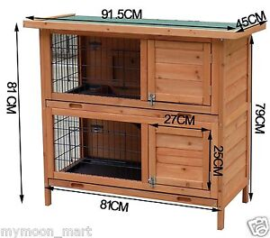 New Large Rabbit Hutch with BASE Chicken Coop 2 Storey Guinea Pig Pet Cage House