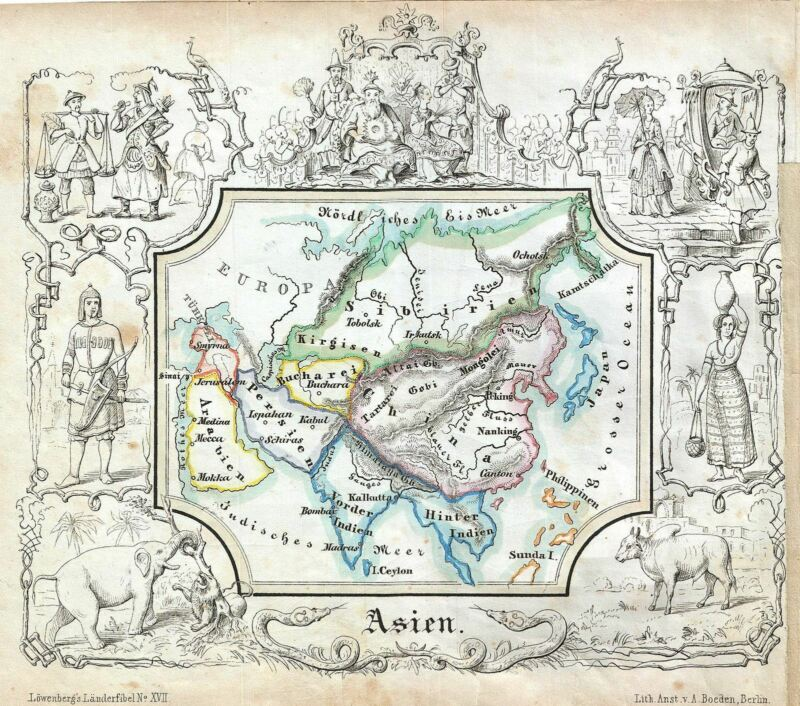 1846 Lowenberg Whimsical Map of Asia