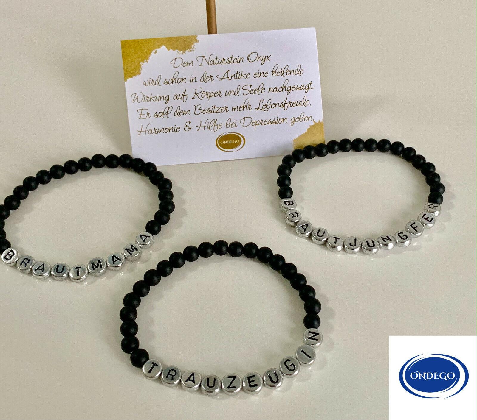 TRAUZEUGE Naturstein Trauzeugin Geschenk Armband Personalisiert Namensarmband
