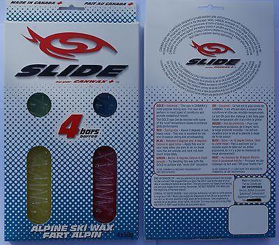 CANWAX Slide SKI/BOARD Wax Quad Pack 4 50 gram bars Free Shipping in Canada