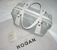 Auth Hogan By Tod's Made In Italy Handbag Borsa Donna Pelle E Tessuto Grigio - tod's - ebay.it
