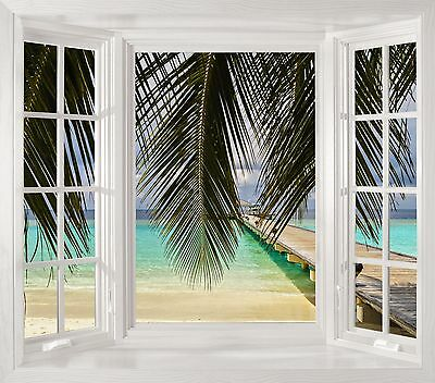 Window Decal Jetty over the ocean - Huge size - ILLUSION 3D Art DIY Wall Mural